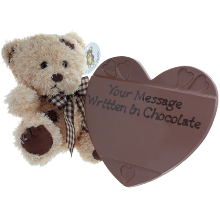 Personalised Chocolate Heart and Teddy Bear